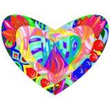 Verre encourageant de staine de coeur d'amour Photo libre de droits