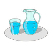 Verre et carafe avec de l'eau Images stock