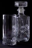 Verre et décanteur cristal Photographie stock