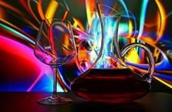 Verre et décanteur de vin Photographie stock libre de droits