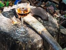 Verre et hache de vin sur le bloc en bois photographie stock libre de droits