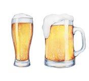 Verre et pinte de bière d'aquarelle Photos libres de droits