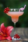 Verre formé avec le cocktail de pamplemousse rose sur le bokeh vert de fond Image libre de droits
