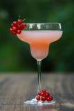 Verre formé avec le cocktail de pamplemousse rose sur le bokeh vert de fond Photographie stock libre de droits