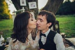 Verre mening van jong Kaukasisch bezet paar op romantische picni stock afbeelding