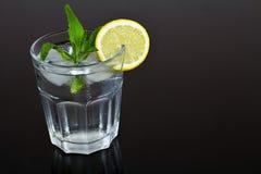 Verre régénérateur de l'eau avec des glaçons assaisonnés avec le citron et la menthe Rafraîchissement d'été image libre de droits