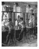 Verre rectifiant la gravure antique Photos stock