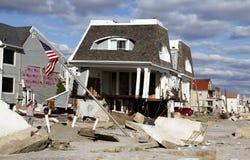 Vernietigde strandhuizen in de nasleep van Orkaan Zandig in Verre Rockaway, NY Royalty-vrije Stock Fotografie