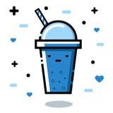 Verre sombre Smoothies mignons de fruit de bande dessinée dans des tasses Bio boisson naturelle, aliment biologique sain Photos libres de droits