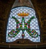 Verre souillé dans l'église du ` Orto de vallon de Santa Maria, à Rome, l'Italie Photos libres de droits