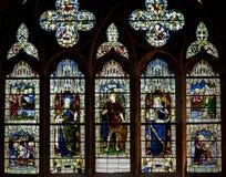 Verre souillé dans la cathédrale d'Exeter, fenêtre du sud A, St Thoma de Nave photos libres de droits