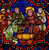 Verre souillé dans la cathédrale de Léon, Espagne Images stock