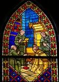 Verre souillé dans la cathédrale de Léon, Espagne Photographie stock