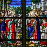 Verre souillé dans la cathédrale de Mechelen Photographie stock