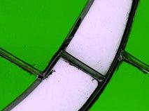 Verre souillé de blanc avec le vert Image stock