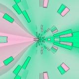 Verre souillé de fleur d'effet en verre de quartz, modèle rond de tuile de mosaïque dans la sarcelle d'hiver tendre et rose Images libres de droits