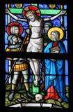 Verre souillé - Jésus sur la croix Image stock