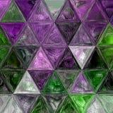 Verre souillé pourpre, vert et blanc de jolie triangle de fond d'effet photographie stock