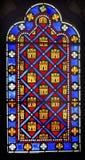 Verre souillé Sainte Chapelle Paris Fran de symboles français de monarchie Photo libre de droits