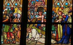 Verre souillé - Jésus sur par l'intermédiaire de Dolorosa Photo libre de droits