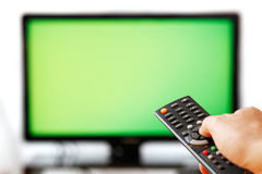 Verre TV Geïsoleerdm op Wit. Royalty-vrije Stock Foto's