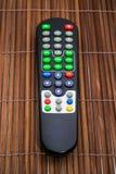 Verre TV op houten achtergronden Stock Afbeelding