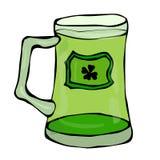Verre vert de symbole de jour de St Patricks de bière avec l'éclaboussure de la boisson alcoolisée Illustration de vecteur de l'I illustration libre de droits