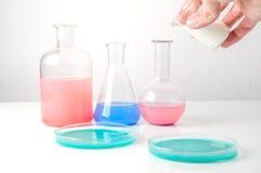 Verrerie de laboratoire avec des liquides de différentes couleurs Photographie stock libre de droits