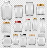 Verrerie vide de maçon de vecteur en verre de pot avec le couvercle ou la couverture pour mettre en boîte et préserver l'ensemble illustration stock