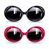 Verres à la mode avec le cadre rose et noir foncé Photo libre de droits