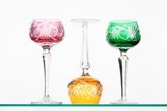 Verres à vin colorés Photo libre de droits