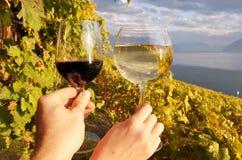 Verres à vin contre des vignobles dans la région de Lavaux Image stock
