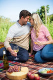 Verres à vin se tenants face à face de sourire de jeunes couples Images stock