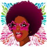 Verres afro-américains de disco avec les étoiles Photo libre de droits