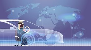 Verres arabes de Wearing Modern 3d d'homme d'affaires conduisant le concept virtuel de technologie de casque de Vr d'innovation d illustration stock