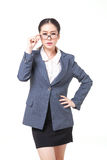 verres asiatiques d'usage de femme d'affaires Image libre de droits