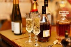 Verres avec de l'alcool de champagne Photos libres de droits