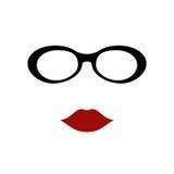Verres avec des lèvres Photos libres de droits