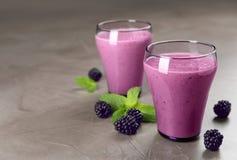 Verres avec des smoothies de yaourt de mûre image stock