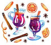 Verres avec du vin chaud, les oranges et la cannelle Ensemble tiré par la main d'aquarelle Illustration de croquis illustration stock