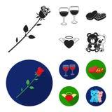 Verres avec du vin, coeurs de chocolat, ours, valentine Icônes réglées de collection de Romantik dans le symbole noir et plat de  Images stock