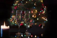 Verres avec le champagne Images libres de droits