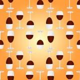 Verres avec le modèle sans couture de vin rouge Photo stock