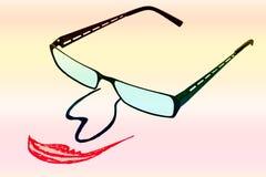 Verres avec le nez et la bouche sur le backgro iridescent Photo libre de droits