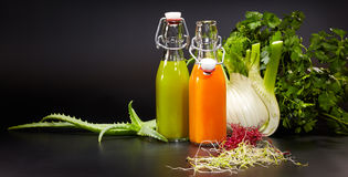 Verres avec les jus organiques frais de légume et de fruit Images libres de droits