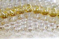 Verres ballons de vodka et d'eau-de-vie fine Photos libres de droits