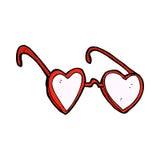 verres comiques de coeur de bande dessinée Photo stock