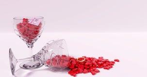 Verres complètement de sucreries en forme de coeur, jour de valentines, 3D rendu Images libres de droits