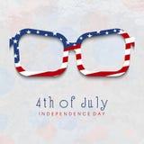 Verres créatifs d'oeil pour le 4ème de la célébration de juillet Photographie stock