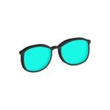 Verres cyan, symbole de lunettes Icône ou logo isométrique plate 3d Photographie stock libre de droits